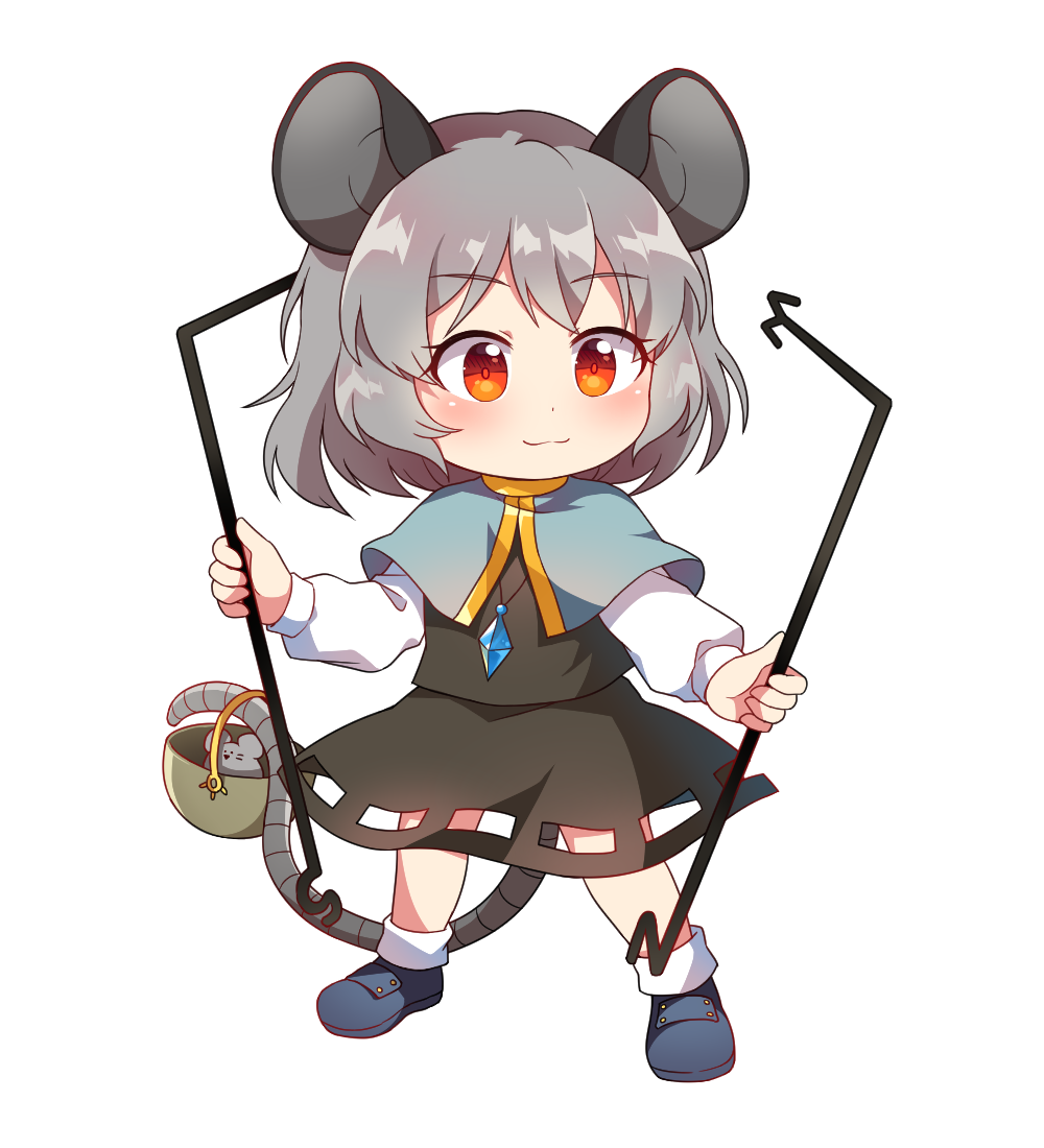 1girl animal_ears bangs basket black_skirt black_vest blue_capelet blue_footwear blush capelet caramell0501 chibi commentary_request dowsing_rod eyebrows_visible_through_hair full_body grey_hair holding jewelry long_sleeves looking_at_viewer miniskirt mouse mouse_ears mouse_tail nazrin partial_commentary pendant red_eyes shirt shoes short_hair simple_background skirt skirt_set smile socks solo standing tail tail_hold touhou vest white_background white_legwear white_shirt