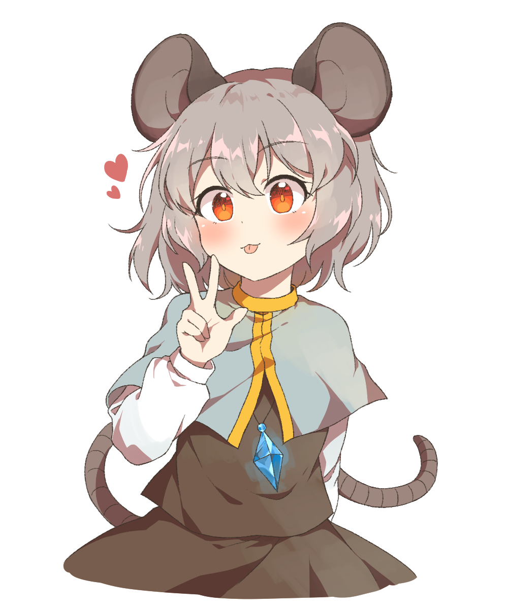 1girl :3 :p animal_ears arm_behind_back bangs black_skirt black_vest blush capelet caramell0501 commentary_request cowboy_shot eyebrows_visible_through_hair grey_capelet grey_hair hair_between_eyes hand_up heart highres jewelry long_sleeves looking_at_viewer mouse_ears mouse_tail nazrin partial_commentary pendant red_eyes shirt short_hair simple_background skirt skirt_set smile solo tail tongue tongue_out touhou vest w white_background white_shirt
