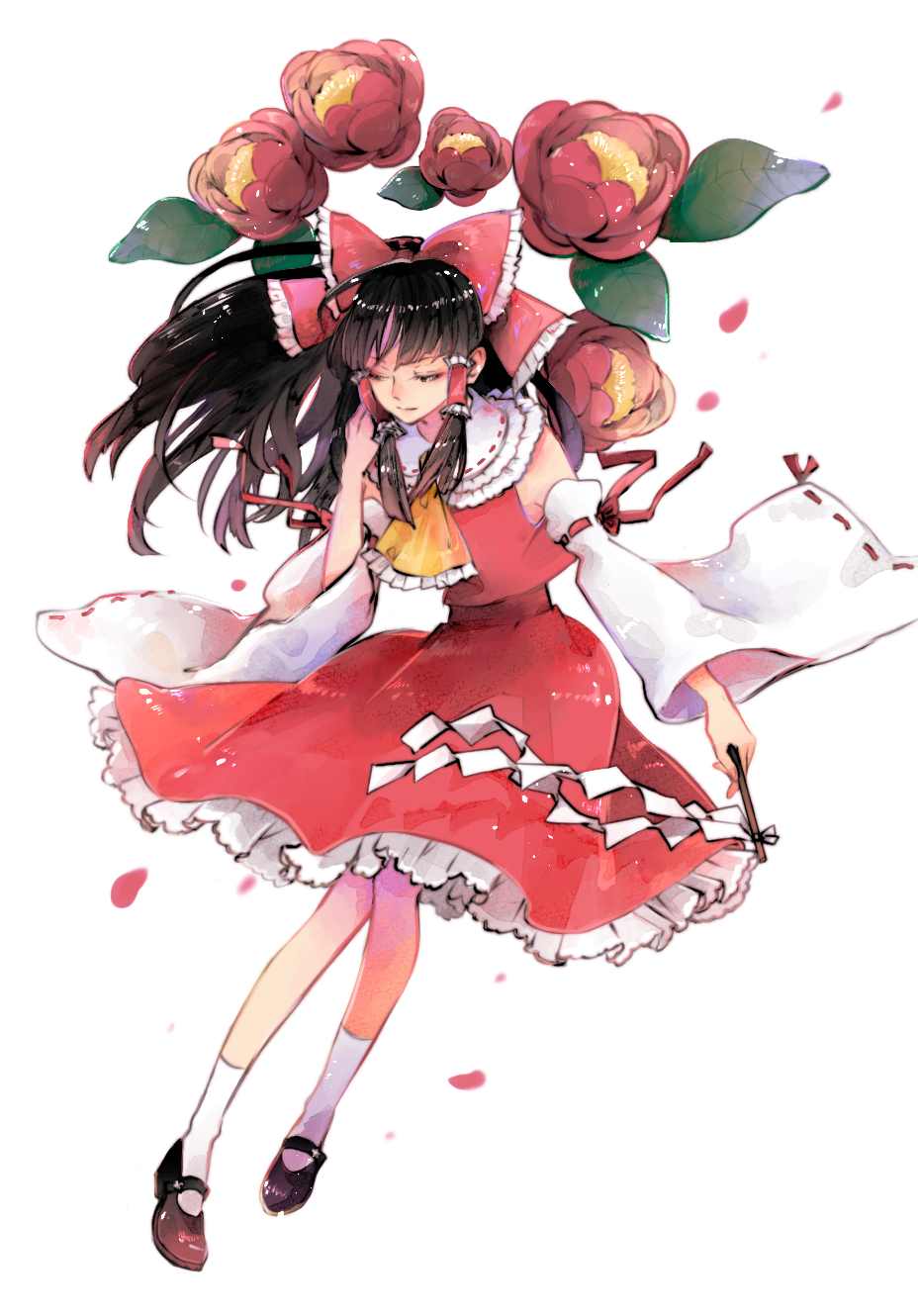 1girl arm_garter ascot bangs bare_shoulders black_footwear black_hair bow collared_shirt commentary_request detached_sleeves floating_hair flower frilled_bow frilled_neckwear frilled_shirt_collar frilled_skirt frills full_body gohei hair_bow hair_tubes hakurei_reimu half-closed_eyes hand_up highres holding leaf long_hair looking_down mary_janes petals red_bow red_flower red_ribbon red_shirt red_skirt ribbon ribbon-trimmed_collar ribbon-trimmed_sleeves ribbon_trim ringocha shide shiny_footwear shirt shoes sidelocks simple_background skirt skirt_set sleeveless sleeveless_shirt socks solo touhou white_background white_legwear wide_sleeves yellow_neckwear
