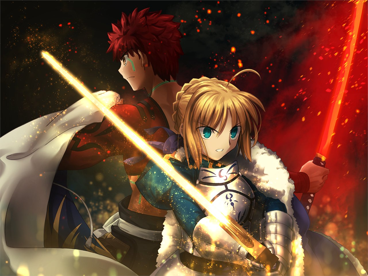 1boy 1girl ahoge armor armored_dress artoria_pendragon_(all) back-to-back bangs blonde_hair braid cape commentary dress emiya_shirou excalibur eyebrows_visible_through_hair fate/grand_order fate/stay_night fate_(series) french_braid gauntlets green_eyes hair_between_eyes hair_ribbon holding holding_sword holding_weapon igote japanese_armor japanese_clothes katana kusazuri limited/zero_over long_sleeves magic_circuit migiha orange_hair ponytail ribbon saber sengo_muramasa_(fate) short_hair single_bare_shoulder skirt sword weapon yellow_eyes
