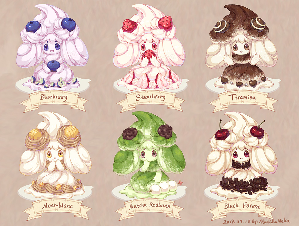 :d alcremie alternate_color blue_eyes blueberry brown_background brown_eyes cherry chocolate covered_mouth cream_puff curious dated dessert english_commentary english_text food fruit gen_8_pokemon heart holding holding_food holding_fruit matchaneko mont_blanc_(food) multiple_views no_humans open_mouth pastry plate pokemon pokemon_(creature) pokemon_(game) pokemon_swsh red_eyes smile strawberry surprised variations violet_eyes wild_arms yellow_eyes