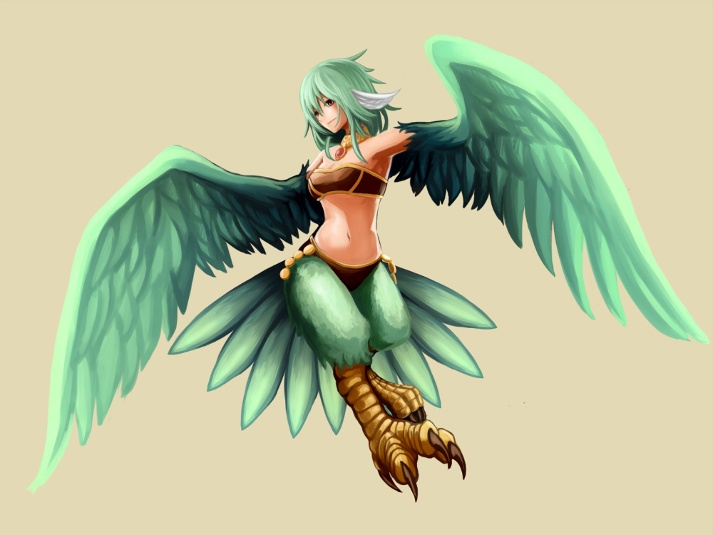 1girl bare_shoulders breasts brown_eyes full_body green_hair green_wings hakuginnosora harpy medium_breasts midriff monster_girl navel original simple_background solo wings