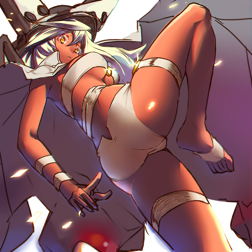 1girl beltbra breasts cape closed_mouth commentary_request dark_skin guilty_gear guilty_gear_xrd hat long_hair looking_at_viewer orange_eyes ramlethal_valentine razu_(rus) short_shorts shorts simple_background solo thigh_strap under_boob white_background white_hair