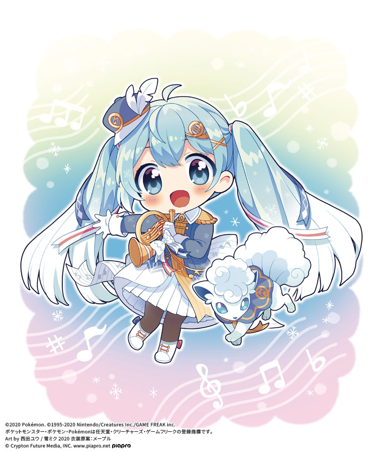1girl :d alolan_vulpix aqua_eyes aqua_hair band_uniform bangs beamed_eighth_notes blush chibi clothed_pokemon commentary_request copyright crypton_future_media eighth_note epaulettes eyebrows_visible_through_hair french_horn fringe_trim gen_7_pokemon gloves gradient gradient_background gradient_hair hair_ornament hat hat_feather hatsune_miku holding holding_instrument horn_(instrument) instrument long_hair long_sleeves looking_at_viewer mini_hat mini_shako_cap mini_top_hat multicolored_hair musical_note musical_note_background musical_note_print nishida_yuu official_art open_mouth outstretched_arm pantyhose piapro pleated_skirt pokemon pokemon_(creature) sheet_music sidelocks skirt smile snowflake_background snowflake_print solo_focus top_hat twintails very_long_hair vocaloid white_footwear white_gloves white_skirt x_hair_ornament yuki_miku yuki_miku_(2020)