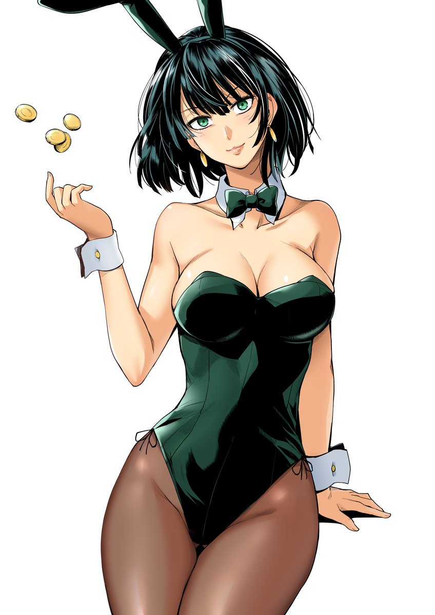 1girl animal_ears black_hair bow bowtie breasts brown_legwear bunny_tail bunnysuit coin detached_collar fubuki_(one-punch_man) green_eyes green_leotard green_neckwear haruhisky highres large_breasts leotard looking_at_viewer one-punch_man pantyhose rabbit_ears short_hair simple_background solo strapless strapless_leotard tail white_background