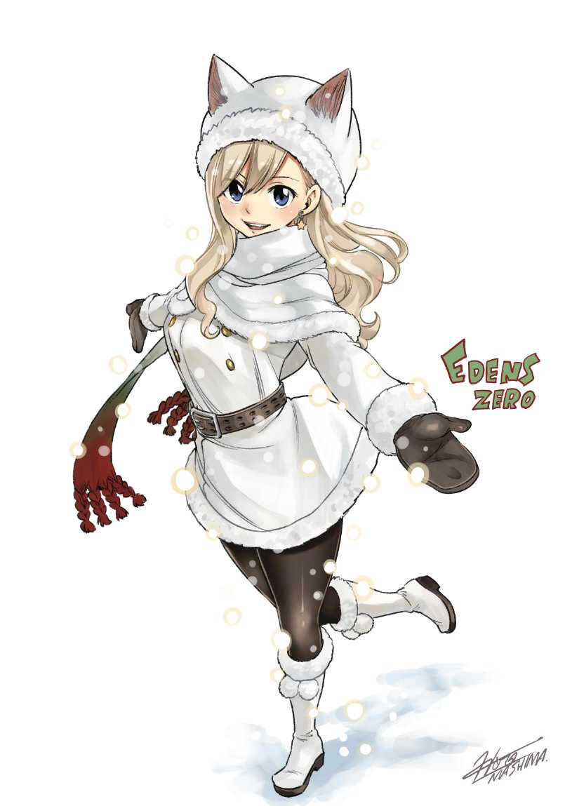 1girl :d animal_hat bangs black_legwear blonde_hair blue_eyes boots brown_gloves capelet cat_hat coat coat_dress copyright_name earrings eden's_zero floating_hair full_body fur-trimmed_boots fur-trimmed_capelet fur-trimmed_coat fur_trim gloves gradient_scarf hat jewelry knee_boots long_hair looking_at_viewer mashima_hiro official_art open_mouth outstretched_arms pantyhose rebecca_(eden's_zero) shiny shiny_hair signature simple_background smile solo standing standing_on_one_leg star star_earrings swept_bangs white_background white_capelet white_coat white_footwear