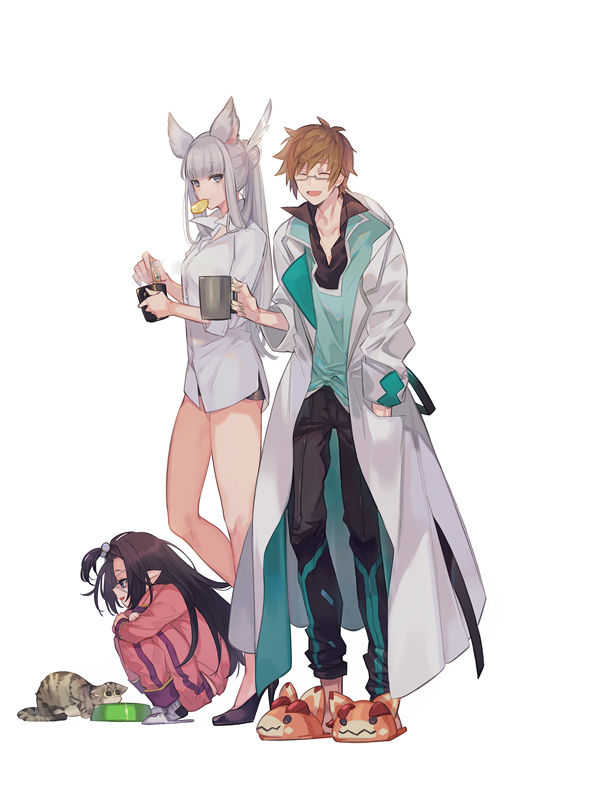1boy 2girls a082 animal_ears animal_slippers black_hair bottomless brown_hair cat coffee_mug cup doctor_(granblue_fantasy) erune feather_hair_ornament glasses gran_(granblue_fantasy) granblue_fantasy hand_in_pocket harvin korwa labcoat lunalu_(granblue_fantasy) mug multiple_girls pointy_ears ponytail silver_hair slippers squatting track_suit white_background