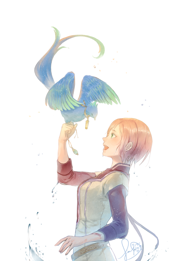 1girl :d akagami_no_shirayukihime bangs belt bird bird_on_hand blush breasts dripping from_side gradient green_eyes jewelry long_sleeves looking_at_another looking_away medium_breasts open_mouth orange_hair pendant popo_(akagami_no_shirayukihime) profile shirayuki_(akagami_no_shirayukihime) short_hair short_over_long_sleeves short_sleeves smile sua_lucid upper_body water wet wet_hair white_background
