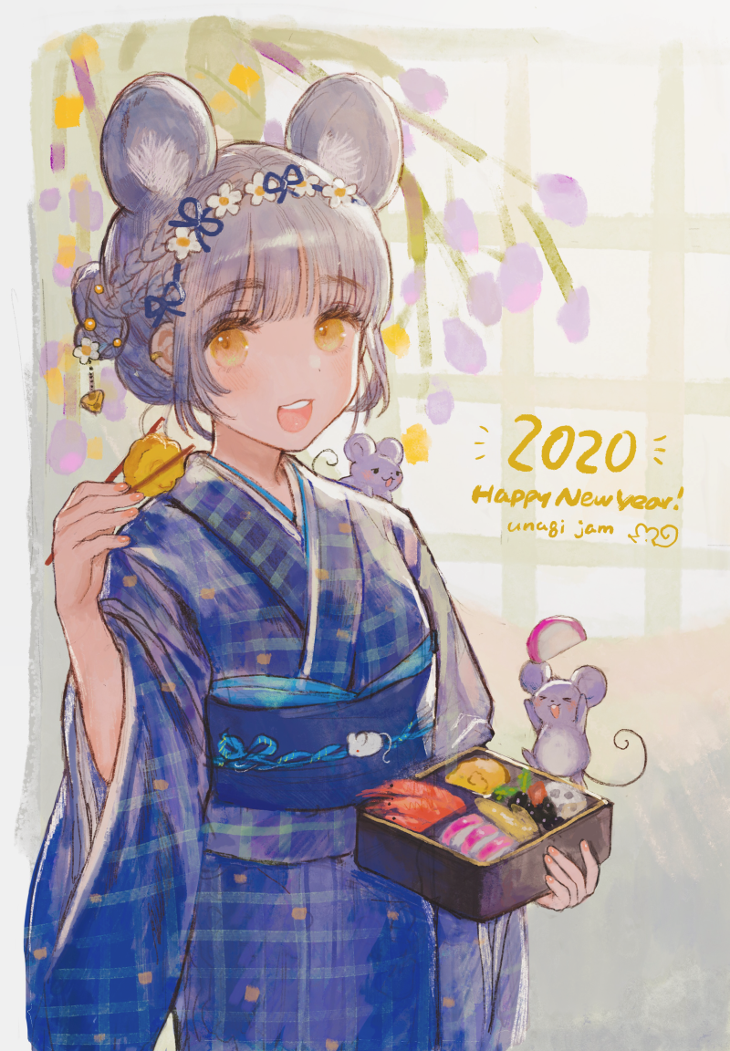 >_< 1girl 2020 :d animal animal_ear_fluff animal_ears bangs blue_kimono blush braid brown_eyes chinese_zodiac chopsticks closed_eyes commentary_request eyebrows_visible_through_hair food grey_hair holding holding_chopsticks japanese_clothes kimono looking_at_viewer miyako_(xxxbibit) mouse mouse_ears obi open_mouth original plaid_kimono sash short_sleeves smile solo standing thick_eyebrows tree_branch upper_teeth wide_sleeves xd year_of_the_rat