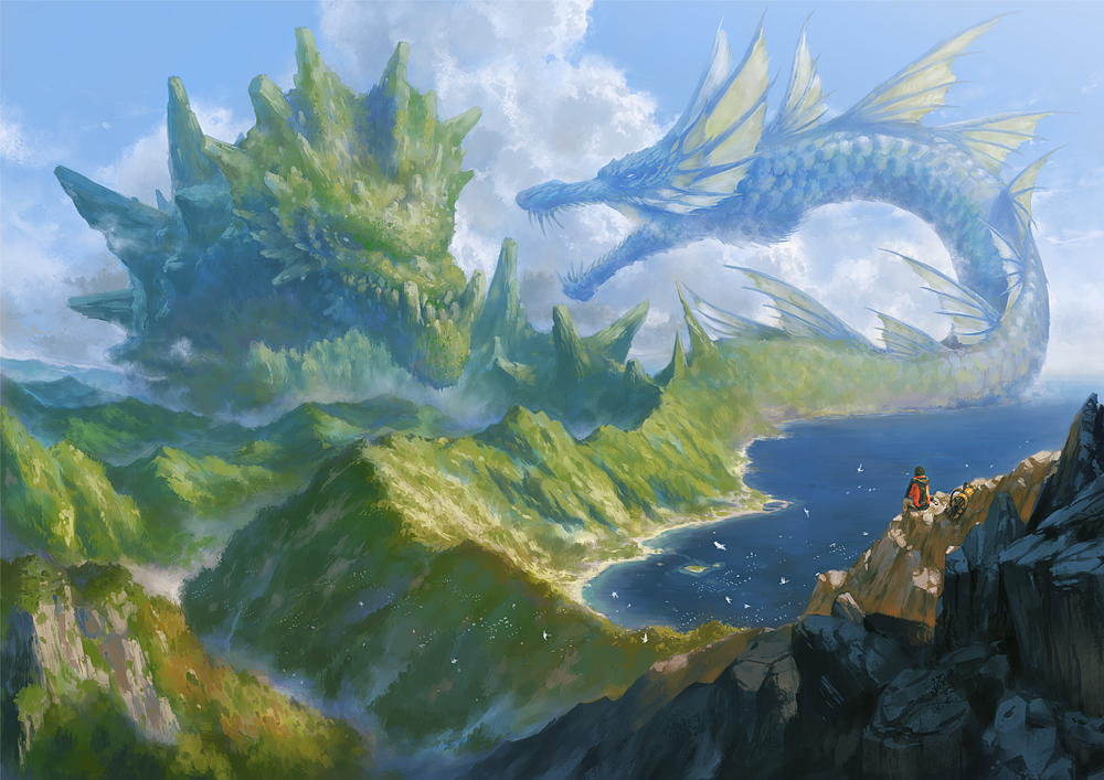 ambiguous_gender animal bag battle bird blue_sky clouds commentary_request creature day dragon duel eastern_dragon facing_away flock jacket long_sleeves mountain nurikabe_(mictlan-tecuhtli) ocean original oversized_animal pants scenery sitting sky western_dragon