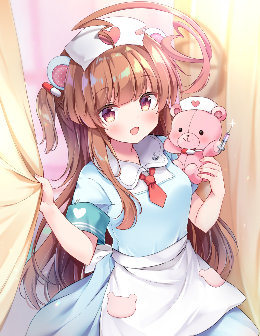 1girl :d ahoge alternate_costume animal_ears bear_ears brown_eyes brown_hair commentary_request fang hat heart highres huge_ahoge kantai_collection kuma_(kantai_collection) long_hair masayo_(gin_no_ame) necktie nurse nurse_cap open_mouth red_neckwear short_sleeves smile solo stuffed_animal stuffed_toy syringe teddy_bear