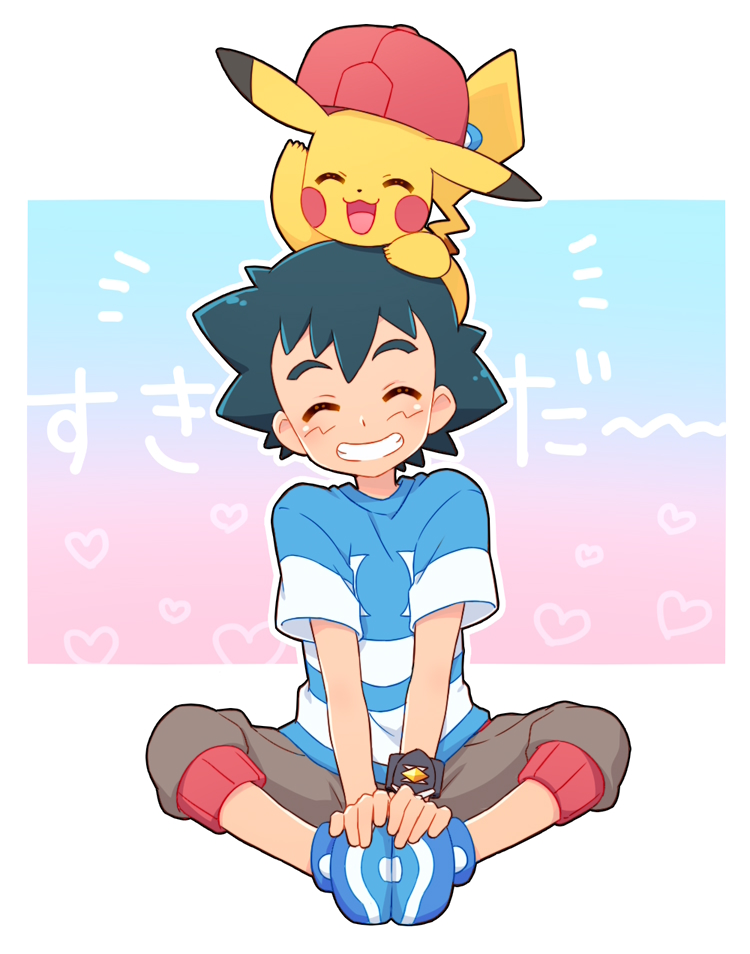 baseball_cap black_hair blue_footwear blue_shirt blush brown_shorts closed_eyes gen_1_pokemon grin hand_on_feet happy hat hat_removed headwear_removed heart indian_style okaohito1 pikachu pokemon pokemon_(anime) pokemon_(creature) pokemon_on_head pokemon_sm_(anime) satoshi_(pokemon) shirt short_sleeves shorts sitting smile spiky_hair striped striped_shirt translation_request z-ring
