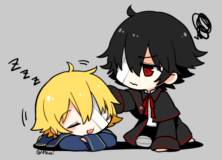2boys bandage_over_one_eye bandaged_leg bandages black_capelet black_coat black_hair blonde_hair blue_capelet blue_coat capelet chibi coat commentary grey_background hand_on_another's_head kneeling lying male_focus mizuhoshi_taichi mouth_drool multiple_boys oliver_(vocaloid) on_stomach open_mouth red_eyes revilo sleeping squiggle twitter_username vocaloid waking_up zzz