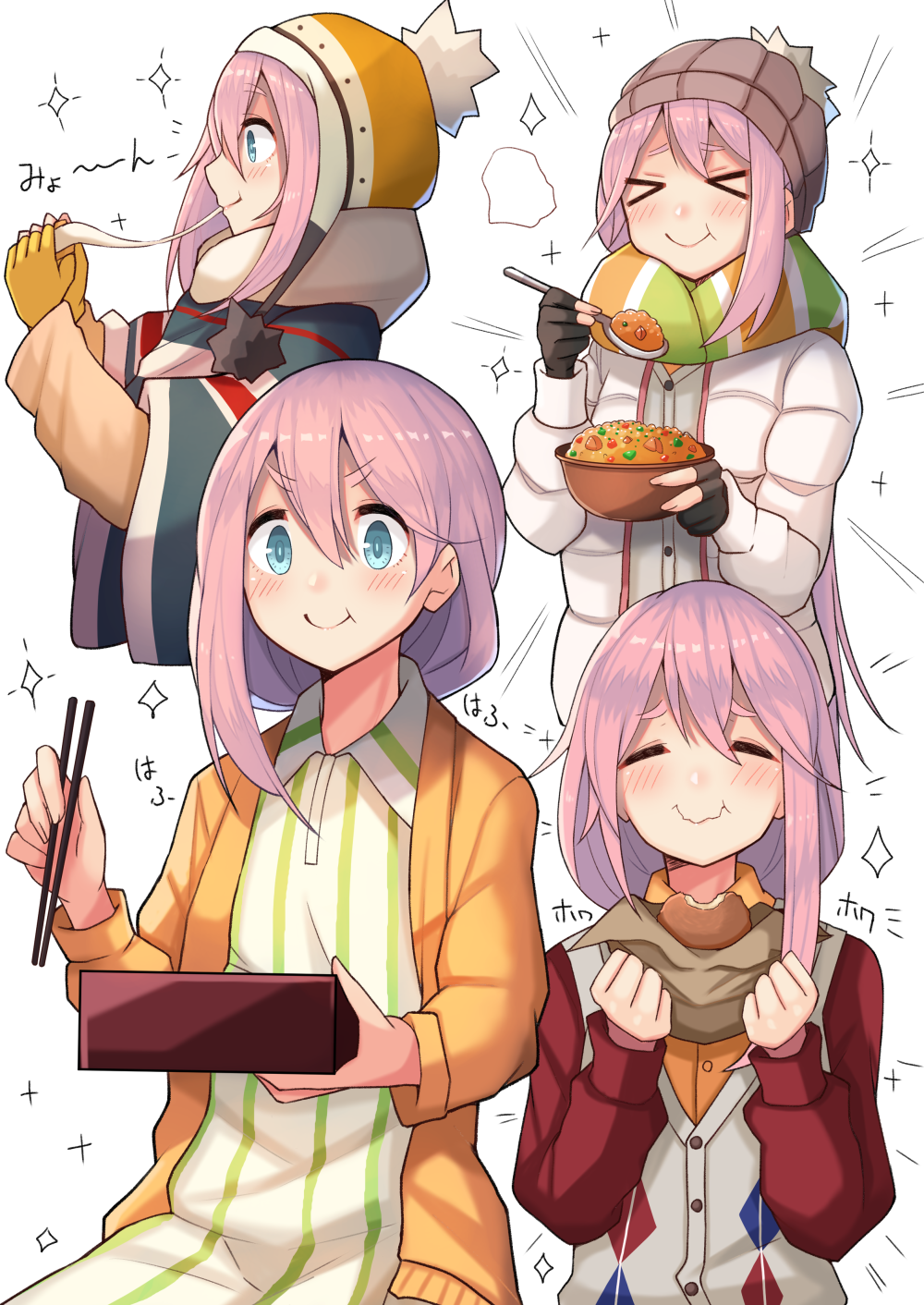 1girl bag bangs beanie blue_eyes blush buttons cardigan chopsticks closed_mouth commentary_request dress eating food gloves hair_between_eyes hat highres holding holding_chopsticks holding_food holding_spoon kagamihara_nadeshiko long_hair long_sleeves low_tied_hair multiple_views obentou open_cardigan open_clothes partly_fingerless_gloves pink_hair plan_(planhaplalan) scarf simple_background smile spoon striped striped_dress striped_legwear sweater_vest toast upper_body vertical-striped_legwear vertical_stripes white_background white_coat yellow_cardigan yellow_gloves yurucamp