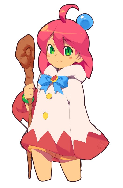 1girl ahoge blush_stickers closed_mouth final_fantasy final_fantasy_fables green_eyes holding holding_staff long_sleeves looking_at_viewer metata redhead shirma short_hair simple_background sleeves_past_fingers sleeves_past_wrists smile solo staff standing white_background white_mage