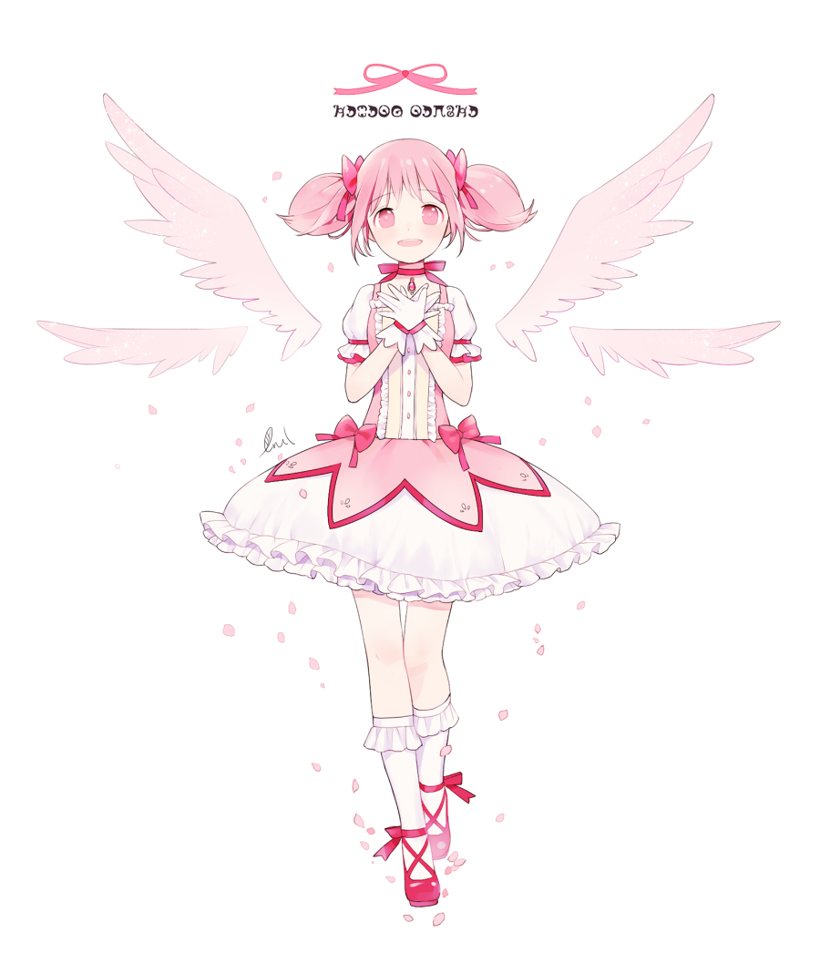 1girl angel_wings ankle_ribbon arms_at_sides bare_legs bow breasts bubble_skirt buttons choker commentary dot_nose floating_hair frilled_legwear frilled_skirt frilled_sleeves frills full_body gloves hair_between_eyes hand_on_own_chest kaname_madoka legs_together light_smile looking_at_viewer lrul madoka_runes mahou_shoujo_madoka_magica open_mouth own_hands_together petals pink_bow pink_eyes pink_hair pink_ribbon pink_theme pink_wings puffy_short_sleeves puffy_sleeves red_choker red_footwear red_neckwear ribbon ribbon_choker shiny shiny_hair shoes short_sleeves short_twintails sidelocks signature simple_background skirt small_breasts smile socks solo soul_gem standing standing_on_one_leg teeth thigh_gap twintails upper_teeth white_background white_gloves white_legwear white_skirt wide-eyed wings