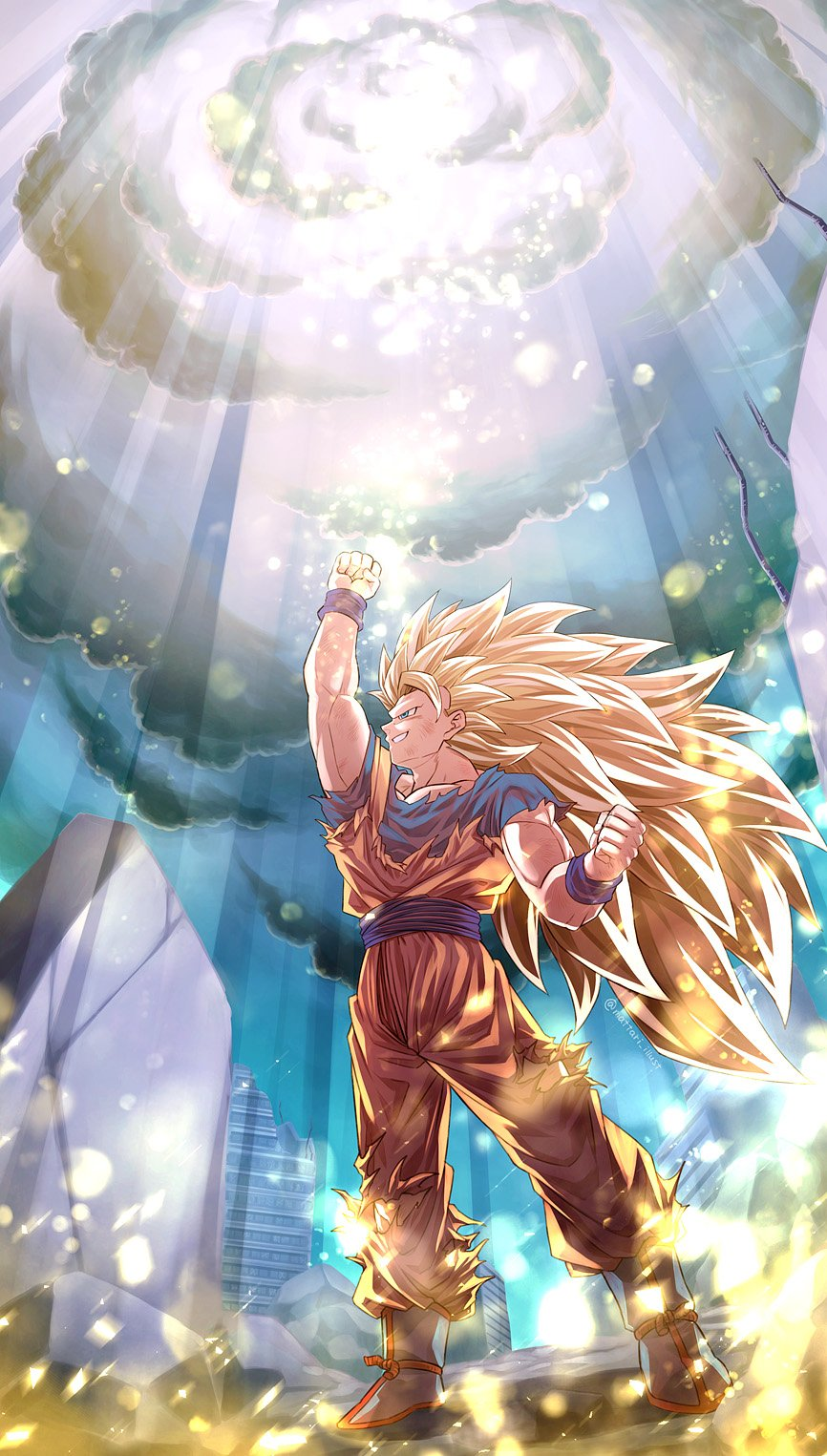 1boy absurdly_long_hair arm_at_side arm_up backlighting blonde_hair blue_eyes blurry blurry_foreground bokeh boots building city clenched_hands clouds cloudy_sky commentary_request dark_clouds day depth_of_field dirty dirty_clothes dirty_face dougi dragon_ball dragon_ball_z energy from_below frown full_body glowing grin highres legs_apart light_particles light_rays long_hair looking_up male_focus mattari_illust no_eyebrows outdoors pectorals profile rock rubble ruins shirt sky skyscraper smile son_gokuu sparkle standing sunlight super_saiyan_3 torn_clothes torn_legwear torn_shirt twitter_username very_long_hair wristband