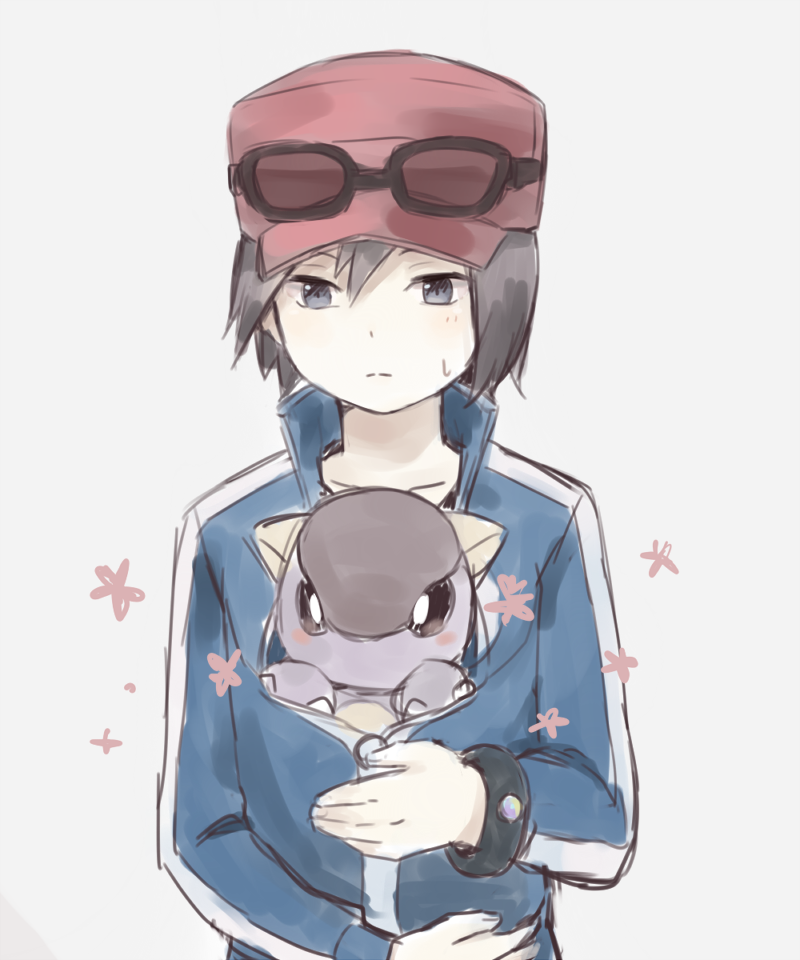 1boy black_hair creature gen_1_pokemon grey_eyes hanosau hat kangaskhan male_focus pokemon pokemon_(creature) pokemon_special simple_background sunglasses sweat white_background x_(pokemon)