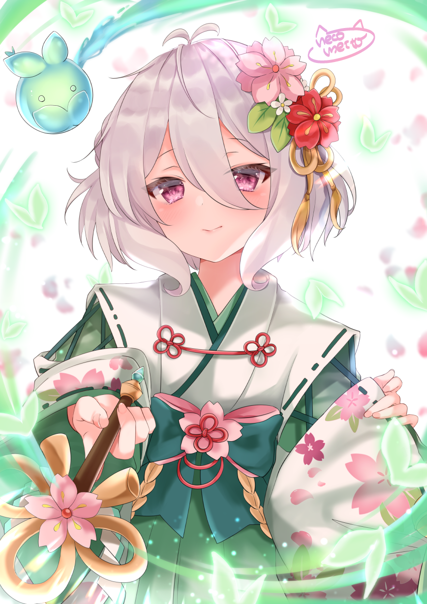 1girl antenna_hair bangs blurry blurry_background blush bow closed_mouth commentary_request depth_of_field eyebrows_visible_through_hair floral_print flower green_bow green_hakama hair_between_eyes hair_flower hair_ornament hakama highres holding japanese_clothes kimono kokkoro_(princess_connect!) long_sleeves looking_at_viewer meito_harmren petals pinching_sleeves pink_flower princess_connect! princess_connect!_re:dive red_eyes red_flower ribbon-trimmed_sleeves ribbon_trim silver_hair sleeves_past_wrists smile solo white_background white_flower white_kimono