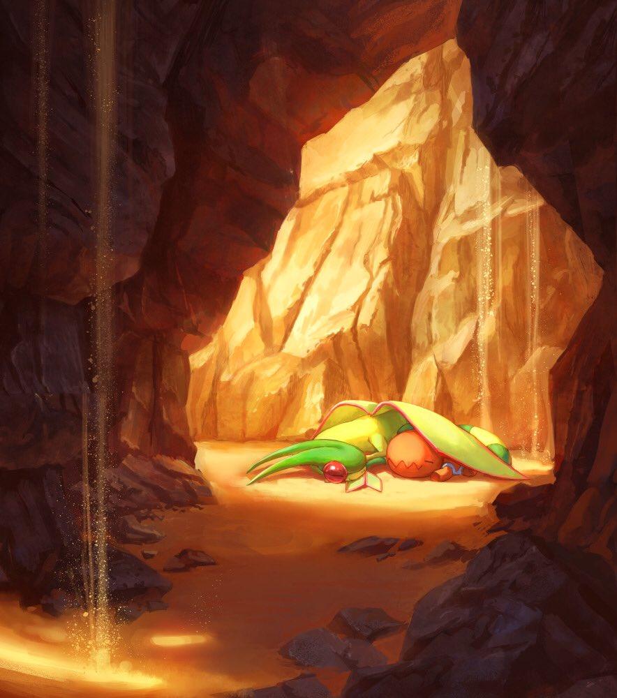 cave closed_eyes dragon flygon gen_3_pokemon lying no_humans pippi_(pixiv_1922055) pokemon pokemon_(creature) sand sleeping smile trapinch wings