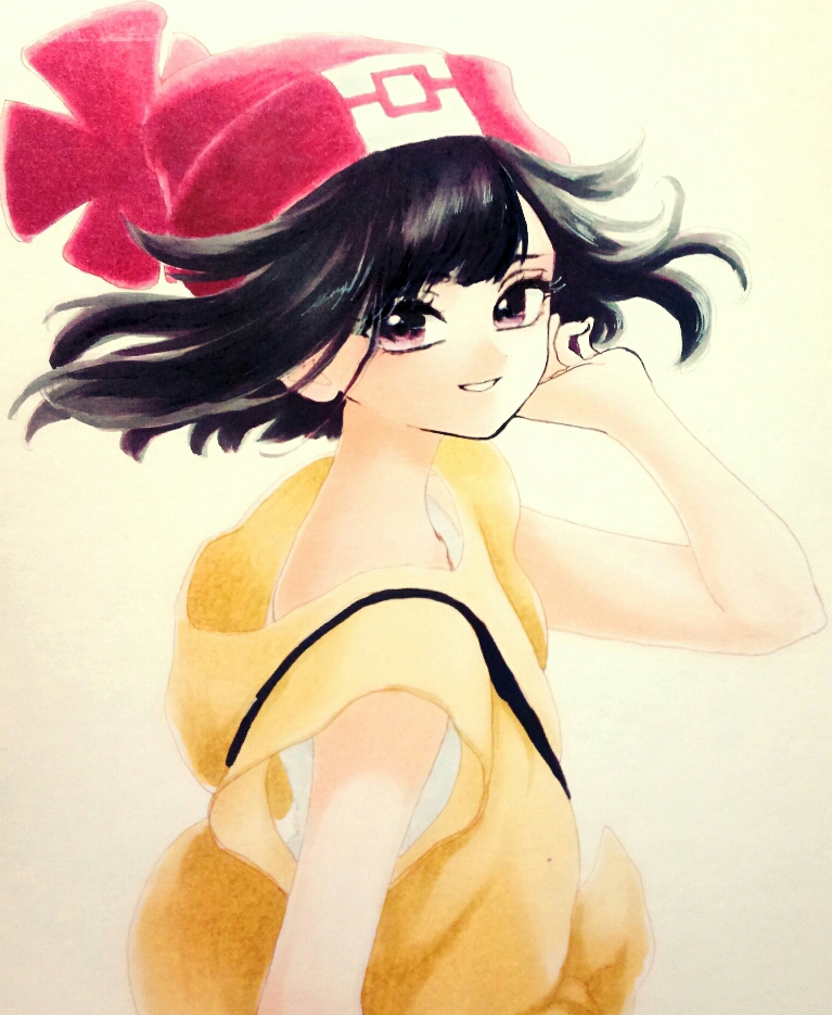1girl bangs beanie black_hair eyelashes hat looking_at_viewer minapo moon_(pokemon) pokemon pokemon_special red_headwear shirt smile solo upper_body violet_eyes wind yellow_shirt
