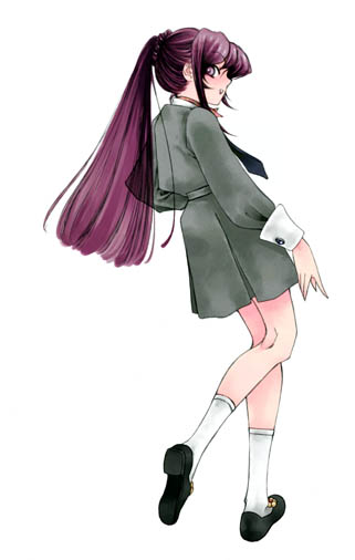 back fuyube_rion kirishima_eriko looking_back persona persona_1 ponytail purple_hair school_uniform