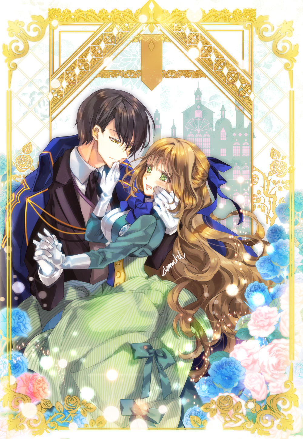 1boy 1girl artist_name black_hair black_neckwear blue_bow blue_neckwear blush bow breasts brown_hair check_character check_copyright dress dress_bow elemental eye_contact flower geunyeoga_gongjagjeolo_gaya_haessdeon_sajeong gloves green_bow green_dress green_eyes hair_bow hand_on_another's_chin hetero highres holding_hands long_sleeves looking_at_another medium_breasts noah_beolsteo_winnite open_mouth outdoors raeliana_mcmillan white_gloves yellow_eyes