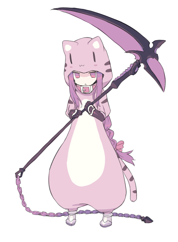 1girl animal_costume animal_ears animal_print black_gloves blade_(galaxist) bow braid chain collar cosplay fake_animal_ears fate/grand_order fate_(series) full_body gloves hair_bow holding holding_scythe hood hood_up jaguarman_(fate/grand_order) jaguarman_(fate/grand_order)_(cosplay) long_hair medusa_(lancer)_(fate) parted_lips purple_hair red_bow red_collar rider scythe sidelocks simple_background single_braid solo standing tail tiger_costume tiger_ears tiger_girl tiger_hood tiger_print tiger_tail vambraces very_long_hair violet_eyes white_background