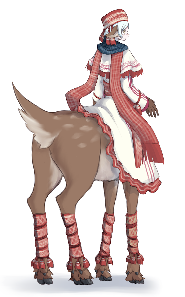 1girl 4139 animal_ears bandaged_leg bandages blue_scarf brown_gloves centauroid clothing_request commentary_request deer_ears deer_tail dress frilled_dress frills from_behind full_body gloves highres long_sleeves monster_girl original plaid plaid_scarf poncho red_headwear red_scarf sash scarf shadow short_hair sidelocks silver_hair simple_background solo tassel white_background white_dress yellow_eyes
