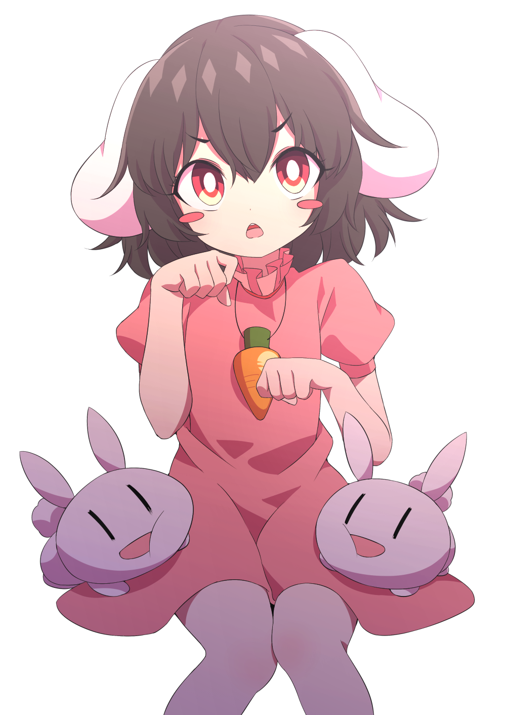 1girl animal_ears arms_up black_hair blush_stickers bright_pupils buck_teeth carrot_necklace chestnut_mouth commentary_request dress eyebrows_visible_through_hair feet_out_of_frame hair_between_eyes head_tilt highres inaba_tewi knees_together paw_pose pink_dress puffy_short_sleeves puffy_sleeves rabbit rabbit_ears red_eyes short_hair short_sleeves simple_background sitting solo touhou tsukimirin white_background white_pupils  _ 