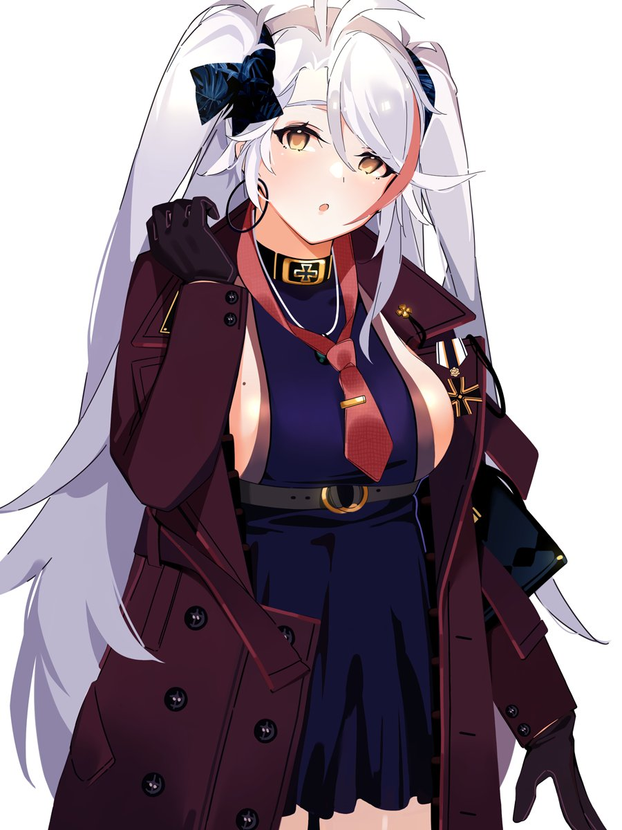 1girl antenna_hair azur_lane bangs black_gloves blush breasts brown_eyes casual earrings eyebrows_visible_through_hair gloves hair_between_eyes highres hoop_earrings iron_cross jewelry large_breasts long_hair looking_at_viewer mania_(fd6060_60) mole mole_on_breast multicolored_hair open_mouth prinz_eugen_(azur_lane) redhead sideboob simple_background solo standing streaked_hair swept_bangs two_side_up very_long_hair white_background white_hair