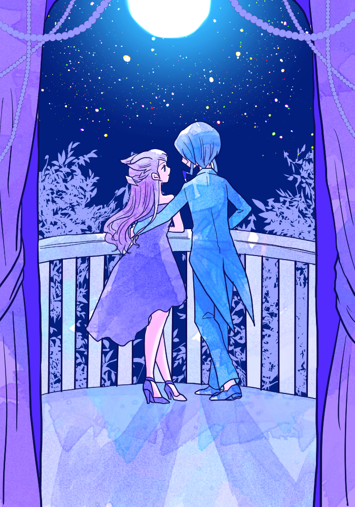 alternate_color balcony blue_coat blue_footwear blue_hair blue_pants coattails couple curtains dress eye_contact from_behind full_body full_moon gym_leader hetero hibikileon high_heels long_hair looking_at_another mikuri_(pokemon) moon nagi_(pokemon) night night_sky pants pokemon pokemon_special purple_dress purple_footwear purple_hair shadow shoes sky star_(sky) starry_sky