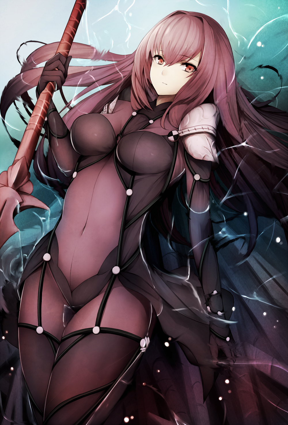 1girl afloat bangs bodysuit breasts closed_mouth covered_navel eyebrows_visible_through_hair fate/grand_order fate_(series) gae_bolg hair_between_eyes highres holding holding_weapon inaba_sunimi lance large_breasts legs_together long_hair looking_at_viewer partially_submerged polearm purple_bodysuit purple_hair red_eyes revision scathach_(fate)_(all) scathach_(fate/grand_order) shoulder_armor solo spaulders water weapon