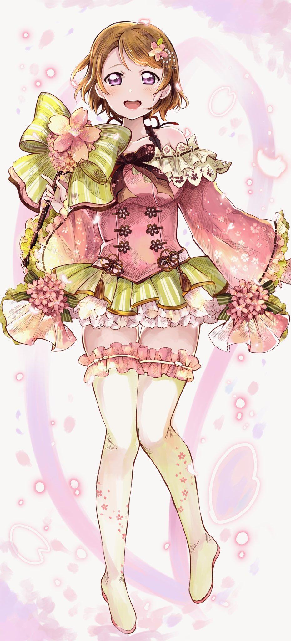 1girl boots flower_ornament green_hair happy_birthday highres koizumi_hanayo love_live! love_live!_school_idol_project shirokagi_tsukito short_hair thigh-highs thigh_boots violet_eyes