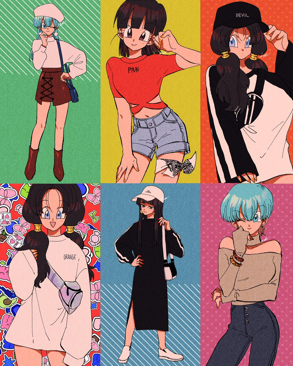 6+girls :d ;) alternate_costume ankle_boots arm_at_side arm_under_breasts bag bangs bare_legs bare_shoulders baseball_cap beanie black_dress black_eyes black_hair black_headwear blue_bag blue_eyes blue_hair blunt_bangs blush boots bra_(dragon_ball) bracelet brown_footwear brown_skirt bulma buttons candy casual character_name choker clothes_writing commentary contemporary cowboy_shot denim denim_shorts dragon_ball dragon_ball_(classic) dragon_ball_gt dragon_ball_z dress earrings english_commentary english_text expressionless eyebrows_visible_through_hair eyelashes fanny_pack fashion fingernails food full_body green_background green_ribbon grey_shirt gummy_bear gun hair_between_eyes half-closed_eyes hand_in_hair hand_on_hip hand_on_own_chin hand_on_thigh handgun happy hat heart heart_background highres hime_cut jeans jewelry kararai_raika lace legs_apart light_smile long_dress long_hair long_sleeves looking_at_viewer looking_away mai_(dragon_ball) midriff milk_carton multiple_girls navel off_shoulder one_eye_closed open_mouth orange_nails oversized_clothes pan_(dragon_ball) pants parted_lips pink_ribbon pistol polka_dot polka_dot_background pom_pom_(clothes) pom_pom_earrings red_background red_shirt ribbon shadow shiny shiny_footwear shiny_hair shirt short_hair shorts signature simple_background skirt smile standing straight_hair striped striped_background sweater sweets thigh-highs thigh_strap turtleneck turtleneck_sweater twintails v-shaped_eyebrows very_short_hair videl weapon white_footwear white_headwear white_sweater yellow_background