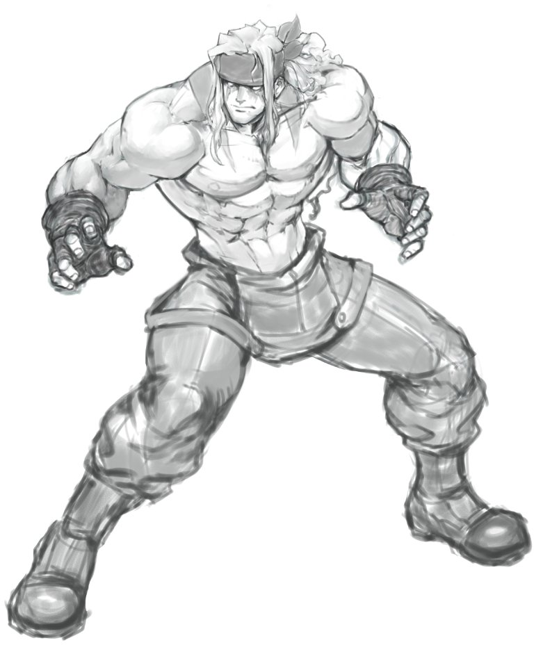 1boy abs alex_(street_fighter) boots combat_boots commentary david_liu english_commentary fighting_stance fingerless_gloves full_body gloves greyscale headband long_hair male_focus monochrome muscle overalls pectorals shirtless sketch solo street_fighter street_fighter_iii_(series) suspenders_hanging tattoo work_in_progress