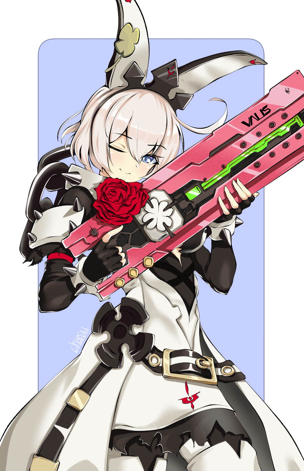 1girl ;) ahoge alternate_color alternate_hair_color blue_eyes blush breasts chaesu clover collar dress elphelt_valentine fingerless_gloves flower four-leaf_clover gloves guilty_gear guilty_gear_xrd gun hairband highres huge_ahoge long_dress looking_at_viewer one_eye_closed red_flower red_rose rose shotgun silver_hair smile solo spiked_collar spiked_hairband spikes spoilers trigger_discipline weapon