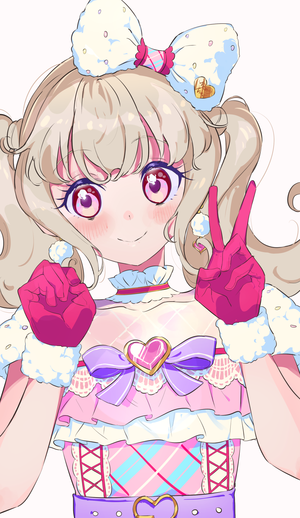 1girl aikatsu!_(series) aikatsu_on_parade! blush bow choker clenched_hand close-up earrings eyebrows_visible_through_hair fur_trim gloves hair_bow heart heart_earrings highres idol jewelry kiseki_raki light_brown_hair long_hair looking_at_viewer multicolored multicolored_eyes red_gloves short_sleeves simple_background smile solo twintails upper_body v white_background yamamura_saki