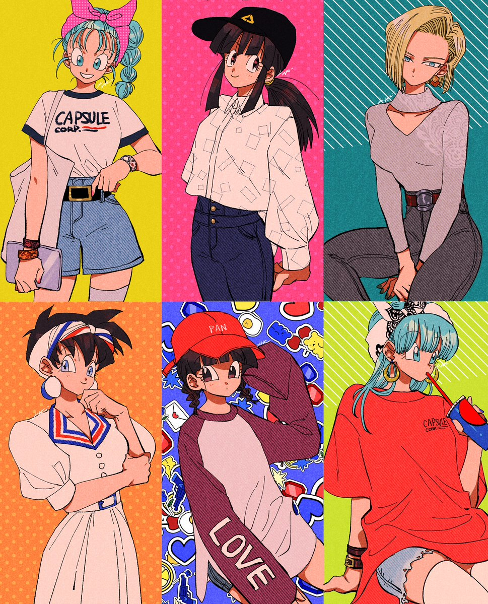 6+girls :d alternate_costume android_18 arm_at_side arm_support arm_under_breasts arms_behind_back bag bangs baseball_cap belt black_belt black_eyes black_hair black_headwear blonde_hair blue_background blue_eyes blue_hair blue_nails blunt_bangs blush bra_(dragon_ball) bracelet braid bulma buttons capsule_corp casual chi-chi_(dragon_ball) clothes_writing collarbone collared_shirt commentary contemporary cowboy_shot cup denim denim_shorts disposable_cup dragon_ball dragon_ball_(classic) dragon_ball_gt dragon_ball_z dress drinking drinking_straw earrings english_commentary expressionless eyebrows_visible_through_hair eyelashes fashion fingernails flat_chest grey_legwear hair_between_eyes hairband half-closed_eyes hand_on_own_chin hands_on_lap happy hat holding hoop_earrings image_sample jeans jewelry kararai_raika long_sleeves looking_at_viewer looking_away multiple_girls open_mouth orange_background orange_nails oversized_clothes pan_(dragon_ball) pants pink_background pink_hairband polka_dot polka_dot_background polka_dot_hairband ponytail puffy_short_sleeves puffy_sleeves red_headwear shaded_face shadow shiny shiny_hair shirt shirt_tucked_in short_hair short_shorts short_sleeves shorts sidelocks signature simple_background single_thighhigh sitting sleeves_past_wrists smile square standing striped striped_background thigh-highs twin_braids twitter_sample v-shaped_eyebrows v_arms very_short_hair videl white_dress white_hairband white_legwear white_shirt yellow_background