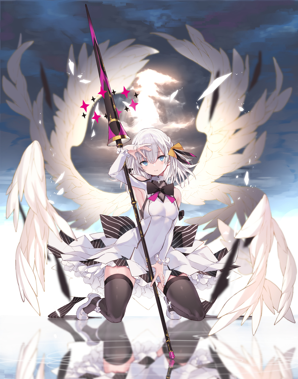 1girl angel_wings armpits bare_shoulders black_legwear blue_eyes blurry breasts closed_mouth clouds dress feathered_wings hair_between_eyes highres kneeling lance long_sleeves looking_at_viewer medium_hair nanananana original polearm reflection shoes shoulder_cutout small_breasts solo sunlight thigh-highs weapon white_dress white_footwear white_hair wings zettai_ryouiki