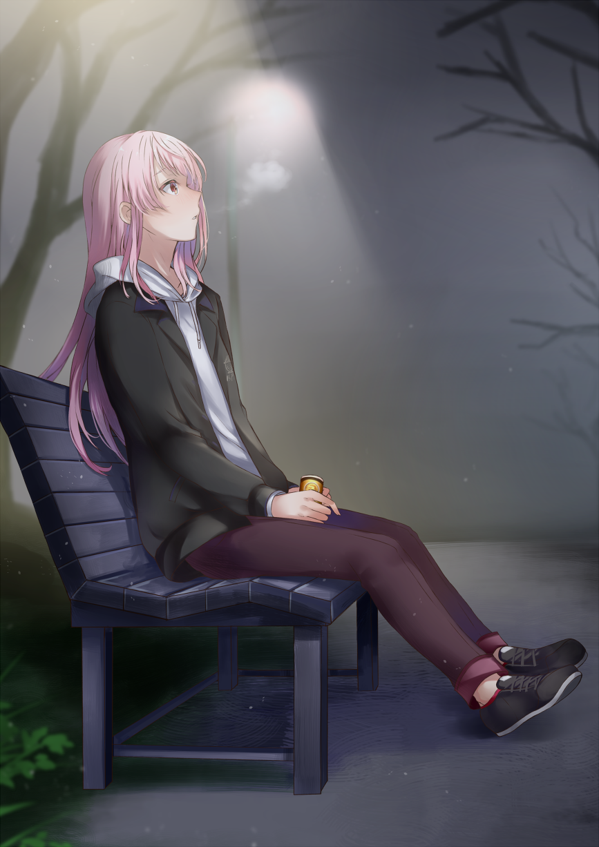 15pafe 1girl bangs bare_tree bench black_footwear black_jacket blurry blurry_background breath brown_pants can commentary_request depth_of_field drawstring full_body highres holding holding_can hood hood_down hoodie ichigoha_fue jacket lamppost long_hair long_sleeves looking_away mashiro_aa night on_bench open_clothes open_jacket outdoors pants park_bench parted_lips pink_hair profile red_eyes shoes sitting sitting_on_bench solo tree virtual_youtuber white_hoodie