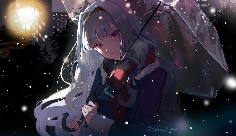 1girl coat fujio_(sakana_3mgmg) hairband idolmaster idolmaster_(classic) light long_hair looking_at_viewer night red_eyes scarf shijou_takane silver_hair smile snow snowing solo tree twitter_username umbrella winter