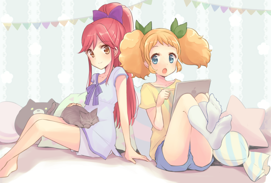 2girls :o aikatsu! aikatsu!_(series) arm_support bare_legs barefoot bed bedroom blonde_hair blouse blue_eyes blue_shorts bow brown_eyes cat cat_on_lap closed_mouth commentary feet_up green_bow hair_bow indoors ipad long_hair looking_at_another looking_at_viewer multiple_girls on_bed open_mouth otoshiro_seira pillow ponytail purple_blouse purple_bow purple_shorts quro_(black_river) redhead saegusa_kii shirt shorts sideways_glance sitting sitting_on_bed smile socks star stuffed_animal stuffed_toy t-shirt tablet_pc twintails white_legwear wrapped_candy yellow_shirt