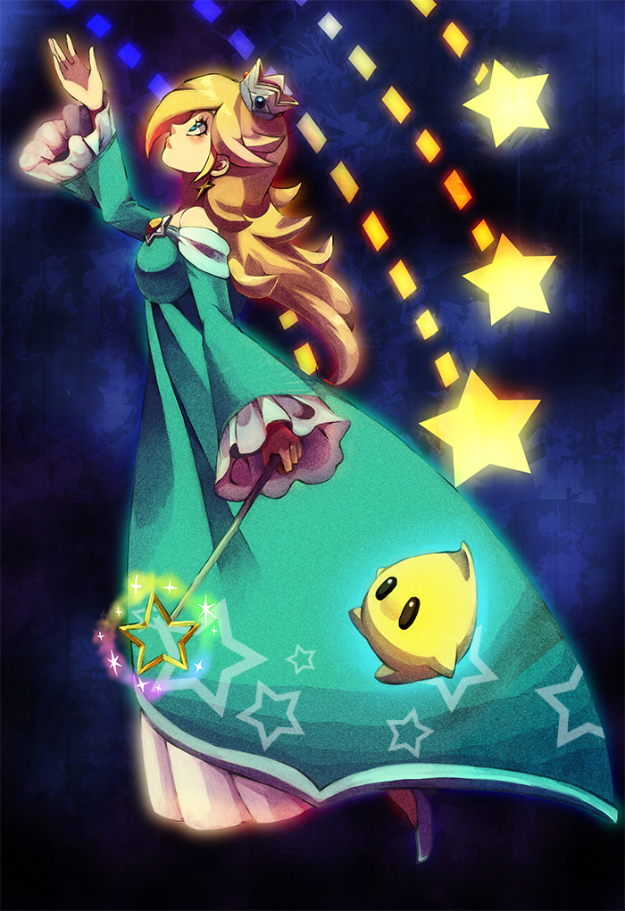 1girl bangs blonde_hair blue_dress blue_eyes blush chiko_(mario) crown dress earrings expressionless frills full_body hair_over_one_eye jewelry lips long_hair long_sleeves looking_up mario_(series) poo princess rosalina solo star super_mario_galaxy wand wide_sleeves