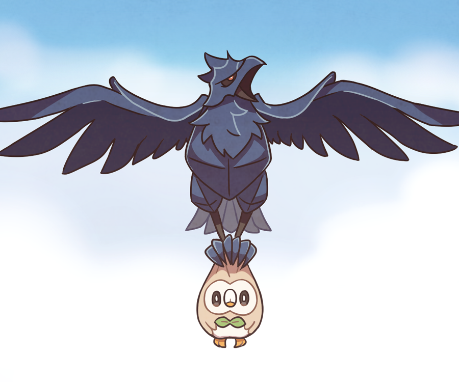 bird bird_focus black_eyes blue_sky clouds cloudy_sky corviknight creature day expressionless flying full_body gen_7_pokemon gen_8_pokemon holding holding_pokemon looking_at_viewer no_humans outdoors pokemon pokemon_(creature) rowlet sky ssalbulre