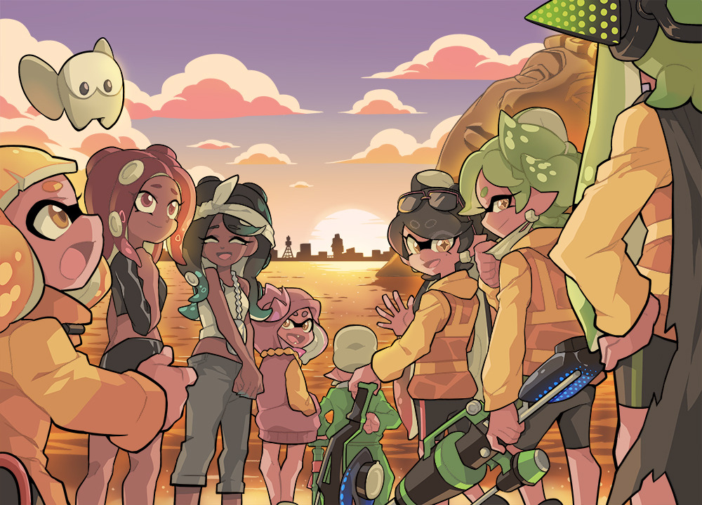 +_+ 1boy 6+girls bamboozler_14_(splatoon) bangs bike_shorts black_cape black_hair black_shirt black_shorts black_skirt blonde_hair blunt_bangs brown_eyes cape capri_pants chain cityscape closed_eyes closed_mouth clouds cloudy_sky commander_atarime commentary cousins dark_skin domino_mask dress earrings english_commentary eyebrows_visible_through_hair eyewear_on_head face_mask fangs gradient_hair grandfather_and_granddaughter green_hair grey_hair grey_pants hands_in_pockets headband headgear hero_charger_(splatoon) hero_roller_(splatoon) holding holding_weapon hood hood_down hood_up hoodie hoodie_dress jacket jewelry lake long_hair long_sleeves looking_at_viewer looking_back mask midriff miniskirt mole mole_under_eye mole_under_mouth multicolored_hair multiple_girls octarian octoling open_mouth pants pencil_skirt pendant pink_dress pink_hair pointy_ears purple_sky shirt short_dress short_hair shorts single_vertical_stripe skirt sky smile splatoon_(series) splatoon_2 splatoon_2:_octo_expansion statue suction_cups sunglasses sunset tank_top tentacle_hair vest waving weapon white_headband white_shirt wong_ying_chee yellow_jacket yellow_vest