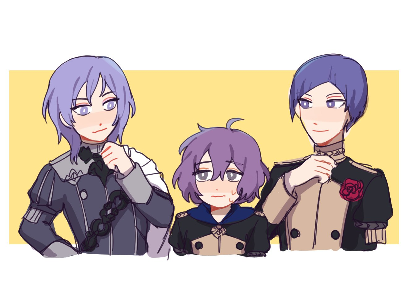 1girl 2boys ahoge bernadetta_von_varley cape closed_mouth epaulettes fire_emblem fire_emblem:_three_houses flower garreg_mach_monastery_uniform grey_eyes iincos long_sleeves lorenz_hellman_gloucester medium_hair messy_hair multiple_boys nervous ornament purple_hair rose short_hair simple_background smile smug sweat thinking uniform upper_body violet_eyes wavy_mouth yuri_(fire_emblem)