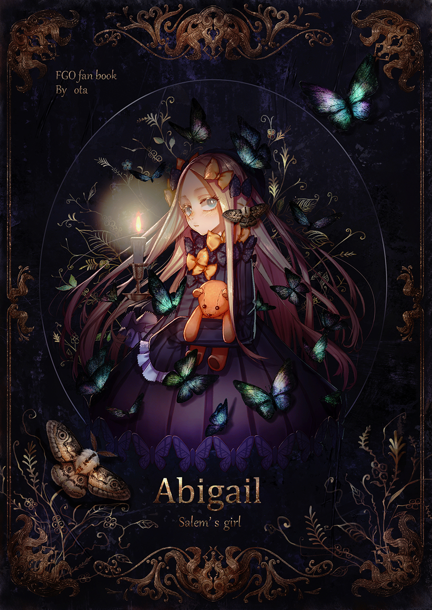 1girl abigail_williams_(fate/grand_order) artist_name bangs black_bow black_dress blonde_hair blue_eyes blush bow bug butterfly candle character_name closed_mouth commentary_request copyright_name dress fate/grand_order fate_(series) forehead hair_bow highres insect long_hair long_sleeves looking_at_viewer moth no_hat no_headwear object_hug orange_bow ota_(ota-0000) parted_bangs polka_dot polka_dot_bow sleeves_past_fingers sleeves_past_wrists solo stuffed_animal stuffed_toy teddy_bear tentacles very_long_hair