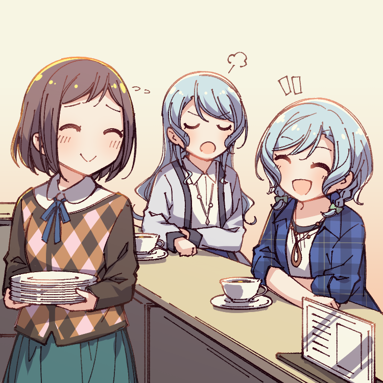 3girls :d :o =3 ^_^ aqua_hair aqua_skirt ayasaka bang_dream! beige_background blue_neckwear blue_shirt bow brown_hair closed_eyes collared_shirt commentary_request counter cup elbows_on_table flying_sweatdrops green_bow grey_jacket hair_bow hazawa_tsugumi hikawa_hina hikawa_sayo holding holding_plate jacket jewelry long_hair multiple_girls neck_ribbon open_mouth pendant plaid plaid_shirt plate ribbon saucer shirt short_hair side_braids skirt smile teacup u_u white_shirt