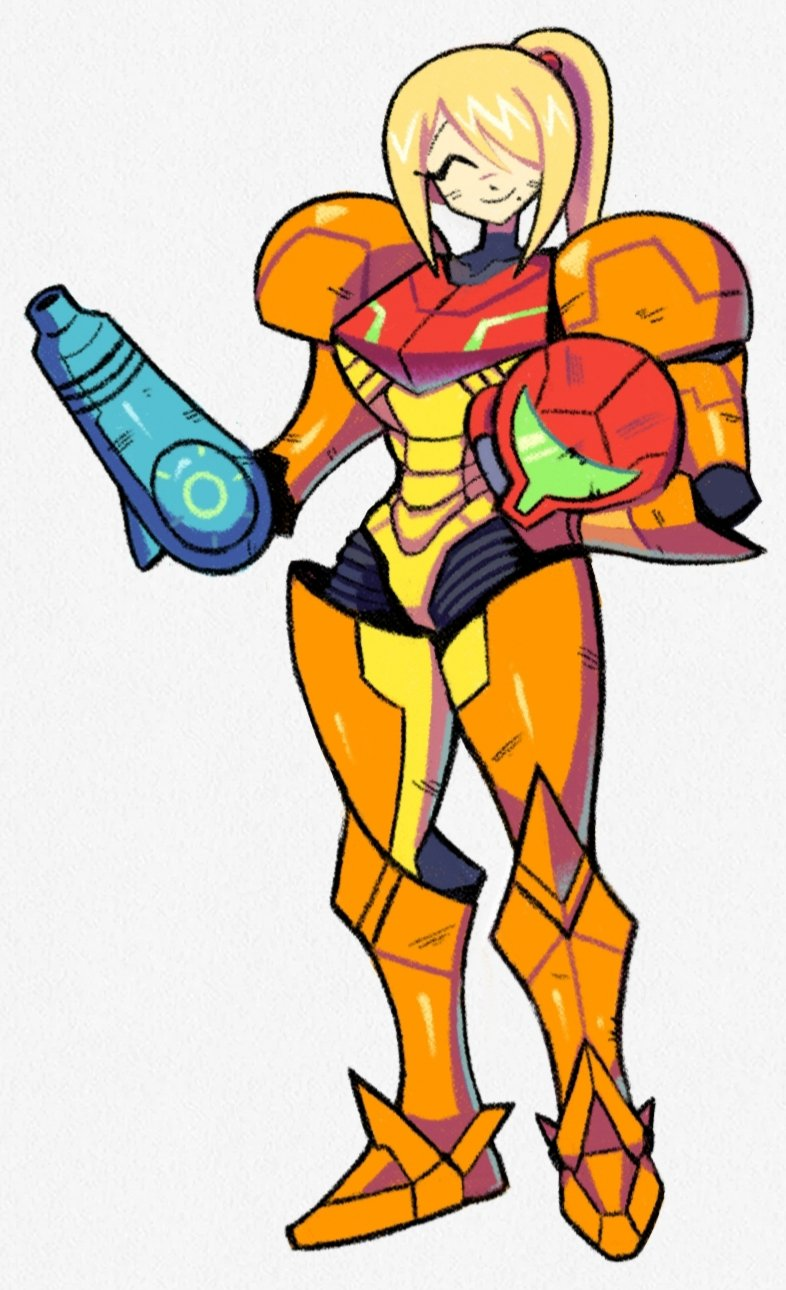 1girl ^_^ arm_cannon blonde_hair closed_eyes denaseey dirty_face full_body headwear_removed helmet helmet_removed highres long_hair metroid mole mole_under_mouth ponytail power_armor samus_aran smile solo varia_suit weapon